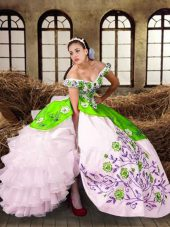 Sophisticated Off The Shoulder Sleeveless Lace Up Quinceanera Dress Multi-color Taffeta