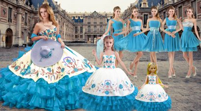 Elegant Baby Blue Sleeveless Organza Lace Up Vestidos de Quinceanera for Military Ball and Sweet 16 and Quinceanera