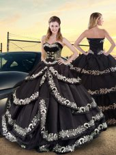 Lovely Taffeta Sleeveless Floor Length Vestidos de Quinceanera and Embroidery and Ruffled Layers