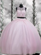 Excellent Baby Pink Sleeveless Floor Length Beading and Appliques Zipper Quinceanera Dress