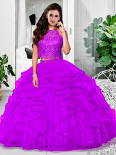 Luxury Eggplant Purple Zipper Sweet 16 Quinceanera Dress Lace and Ruffles Sleeveless Floor Length