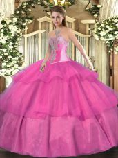 Hot Pink Ball Gowns Beading and Ruffled Layers Ball Gown Prom Dress Lace Up Tulle Sleeveless Floor Length