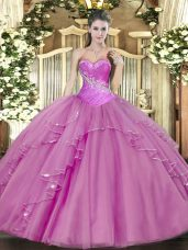 High Class Sleeveless Tulle Floor Length Lace Up Quinceanera Gown in Lilac with Beading
