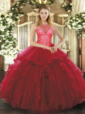 Traditional Ruffles Sweet 16 Dresses Wine Red Lace Up Sleeveless Floor Length