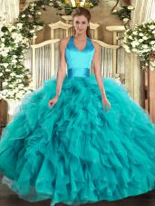 Turquoise Lace Up Halter Top Ruffles Sweet 16 Dresses Organza Sleeveless
