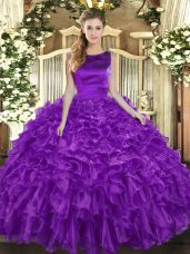 Eggplant Purple Sleeveless Organza Lace Up Quinceanera Dresses for Military Ball and Sweet 16 and Quinceanera
