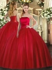 Nice Red Ball Gowns Ruching Sweet 16 Dresses Lace Up Tulle Sleeveless Floor Length