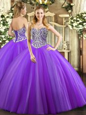 Fantastic Lavender Sleeveless Beading Floor Length Quinceanera Dresses