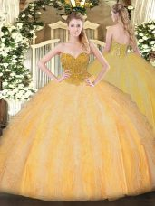 Designer Ball Gowns Quinceanera Dresses Orange Sweetheart Organza Sleeveless Floor Length Lace Up