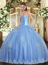 Sweetheart Sleeveless Quinceanera Gowns Floor Length Beading and Appliques Baby Blue Tulle