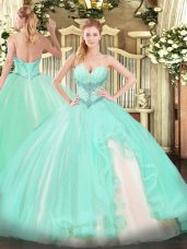 Latest Apple Green Sleeveless Beading and Ruffles Floor Length Vestidos de Quinceanera