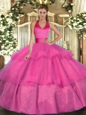 Charming Fuchsia Lace Up Sweet 16 Dress Ruffled Layers Sleeveless Floor Length