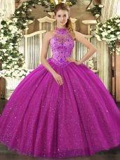 Exceptional Fuchsia Tulle Lace Up Quinceanera Dresses Sleeveless Floor Length Beading and Embroidery