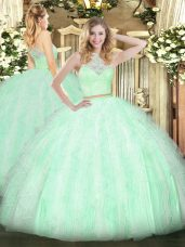 Sumptuous Sleeveless Zipper Floor Length Lace and Ruffles Sweet 16 Dress