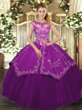 Eggplant Purple Ball Gowns Scoop Cap Sleeves Satin and Tulle Floor Length Lace Up Embroidery 15th Birthday Dress