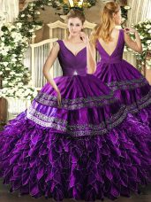 Eggplant Purple Ball Gowns Organza V-neck Sleeveless Beading and Ruffles and Ruching Floor Length Backless Quinceanera Dress