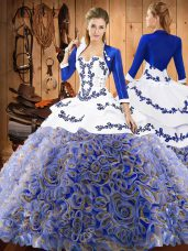 Multi-color Sleeveless Satin and Fabric With Rolling Flowers Sweep Train Lace Up Sweet 16 Dresses for Military Ball and Sweet 16 and Quinceanera