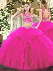 Enchanting Sleeveless Tulle Floor Length Backless Quinceanera Gowns in Fuchsia with Beading and Ruffles