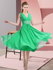 Suitable Knee Length Turquoise Bridesmaid Gown V-neck Sleeveless Side Zipper