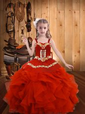 Coral Red Straps Lace Up Embroidery and Ruffles Kids Formal Wear Sleeveless