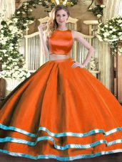Cute Rust Red Quinceanera Gown Military Ball and Sweet 16 and Quinceanera with Ruching High-neck Sleeveless Criss Cross