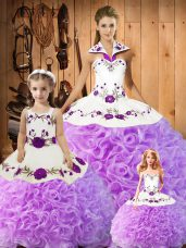 Dazzling Lilac Ball Gown Prom Dress Military Ball and Sweet 16 and Quinceanera with Embroidery Halter Top Sleeveless Lace Up