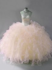 Fine Pink Ball Gowns Halter Top Sleeveless Tulle Floor Length Lace Up Beading and Ruffles Quinceanera Gowns