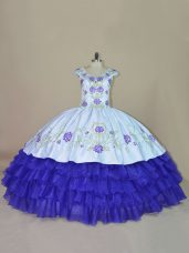 Floor Length Ball Gowns Sleeveless Blue and Purple 15th Birthday Dress Lace Up