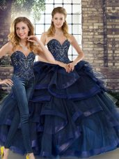 Sweetheart Sleeveless Quinceanera Gown Floor Length Beading and Ruffles Navy Blue Tulle