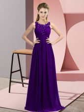 Glorious Floor Length Zipper Dama Dress Purple for Wedding Party with Beading and Appliques