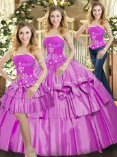 Fantastic Lilac Lace Up Strapless Beading and Ruffled Layers Quinceanera Gown Taffeta Sleeveless