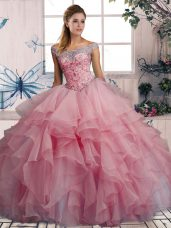 Off The Shoulder Sleeveless Organza 15th Birthday Dress Beading and Ruffles Lace Up