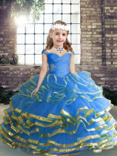 Simple Ball Gowns Pageant Gowns For Girls Blue Straps Tulle Sleeveless Floor Length Lace Up