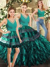 Sleeveless Organza Floor Length Backless 15th Birthday Dress in Turquoise with Appliques and Ruffles