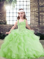Exquisite Straps Sleeveless Lace Up Pageant Gowns For Girls Yellow Green Tulle