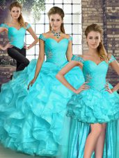 Comfortable Off The Shoulder Sleeveless Organza Sweet 16 Dress Beading and Ruffles Lace Up