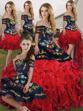 Sleeveless Floor Length Embroidery and Ruffles Lace Up Quinceanera Gown with Red And Black