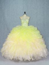Fine Multi-color Organza Lace Up Sweetheart Sleeveless Floor Length Vestidos de Quinceanera Beading and Ruffles