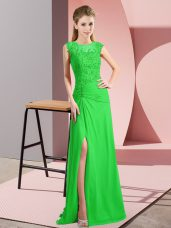 Custom Fit Green Sleeveless Beading Floor Length