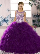 Purple Organza Lace Up Quinceanera Gowns Sleeveless Floor Length Beading and Ruffles