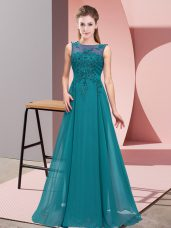 Affordable Beading and Appliques Court Dresses for Sweet 16 Teal Zipper Sleeveless Floor Length
