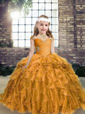 Latest Gold Ball Gowns Beading and Ruffles Kids Pageant Dress Lace Up Organza Sleeveless Floor Length