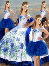 Elegant Blue And White Lace Up Quinceanera Dress Embroidery Sleeveless Floor Length