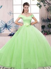 Elegant Tulle Off The Shoulder Short Sleeves Lace Up Lace and Hand Made Flower Vestidos de Quinceanera in