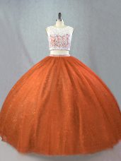 Rust Red Tulle Zipper Sweet 16 Dresses Sleeveless Floor Length Beading