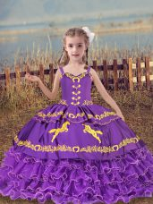 Modern Lavender Ball Gowns Straps Sleeveless Organza Floor Length Lace Up Beading and Embroidery and Ruffled Layers Little Girl Pageant Gowns