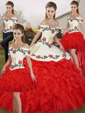 Chic Embroidery and Ruffles Sweet 16 Dress White And Red Lace Up Sleeveless Floor Length