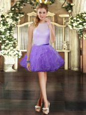 Lavender Scoop Zipper Ruffles Party Dress for Toddlers Sleeveless