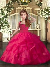 Organza Straps Sleeveless Lace Up Ruffles and Ruching Girls Pageant Dresses in Coral Red