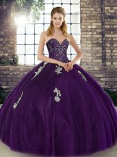 Purple Sweetheart Neckline Beading and Appliques Ball Gown Prom Dress Sleeveless Lace Up